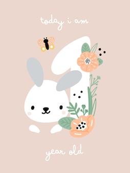 Cartão do marco do bebê com flores e números para menina ou menino recém-nascido. cartão de aniversário de 1 ano
