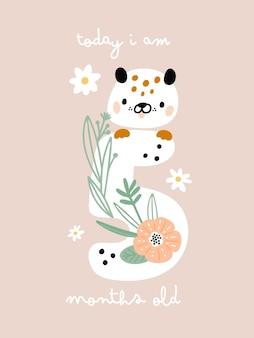 Cartão do marco do bebê com flores e números para menina ou menino recém-nascido