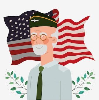 Cartão do memorial day com veterano e bandeira dos eua