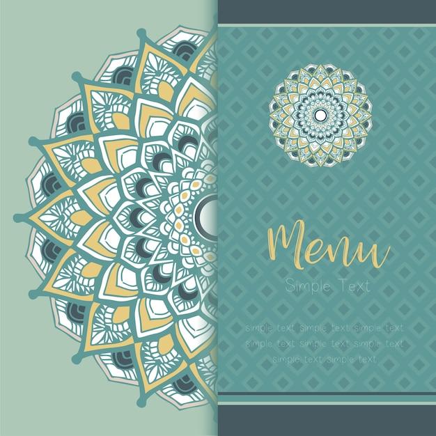 Cartão do molde do vintage da mandala