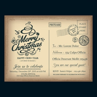 Cartão do natal vintage carta postal
