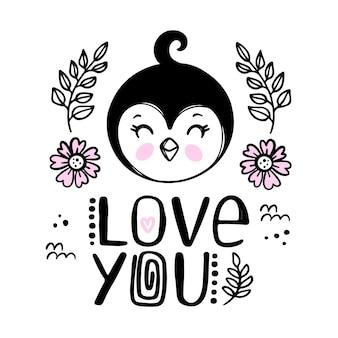 Cartão do pinguim amo você. desenho animado monocromático esboço desenhado à mão com texto escrito à mão clip-art