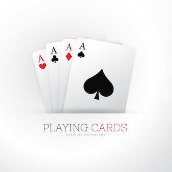 Cartão do póquer quatro ases fundo