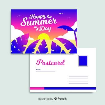 Cartão do por do sol das férias de verão