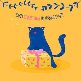 Cartão do primeiro dia com gato cantando