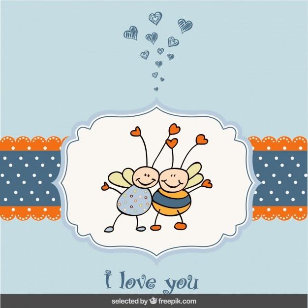 Cartão do valentim com abelhas adoráveis