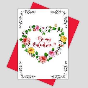 Cartão do valentim da aguarela