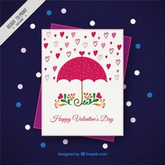 Cartão do valentim feliz com guarda-chuva e chuva de corações