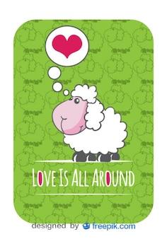 Cartão do vetor bonito dos desenhos animados com ovelha