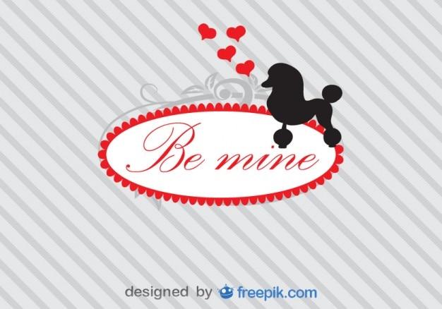 Cartão do vetor com poodle silhueta e amor mensagem