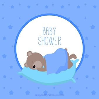 Cartão do vetor do bebê com urso de pelúcia dormir