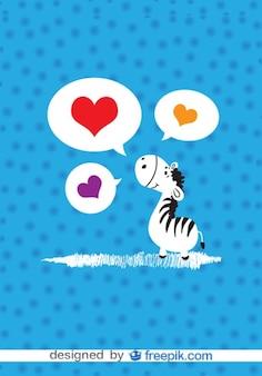 Cartão do vetor zebra dos desenhos animados no amor