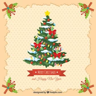 Cartão do vintage com árvore de natal e feliz ano novo