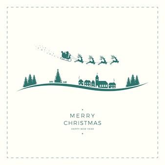 Cartão do vintage do feliz natal do trenó de papai noel