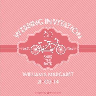 Cartão do vintage rosa livre do casamento com uma bicicleta