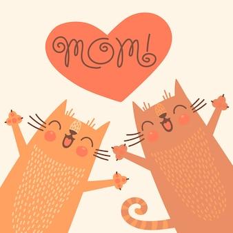 Cartão doce para o dia das mães com gatos.
