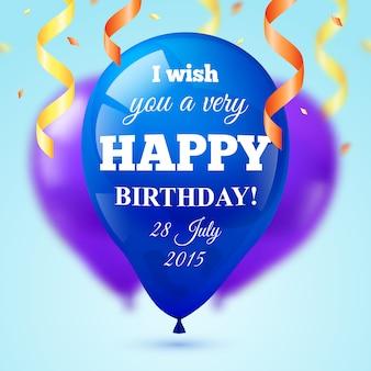 Cartão dos balões do feriado