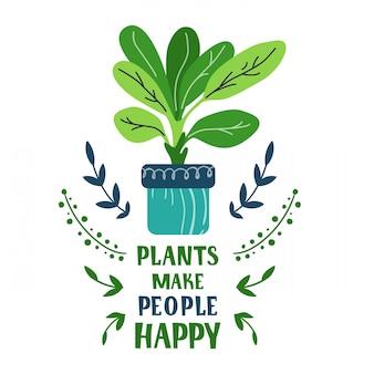 Cartão dos desenhos animados com a planta em vaso em casa, flor, lettering