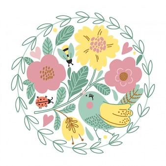 Cartão dos desenhos animados com pássaro bonito