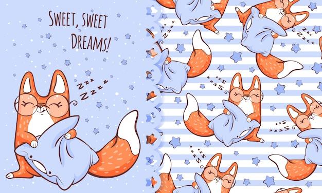 Cartão dos desenhos animados e padrão com fofo dormindo raposa.