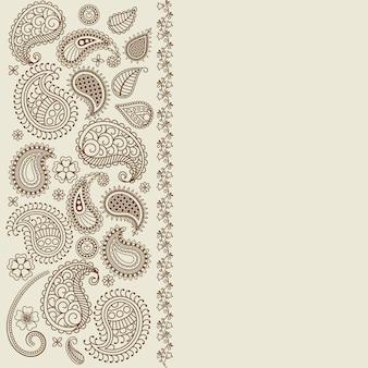 Cartão dos elementos da hena da folha de paisley