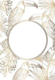 Cartão dourado com papagaios e folhas de palmeira