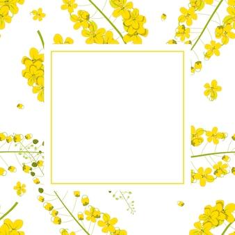 Cartão dourado da bandeira da flor do chuveiro de cassia fistula