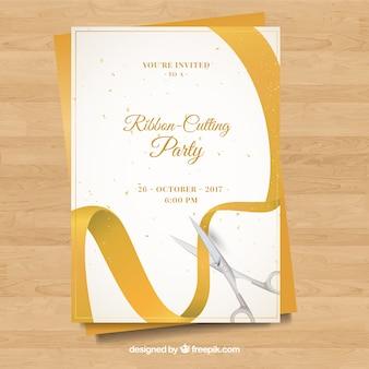 Cartão dourado da festa de abertura