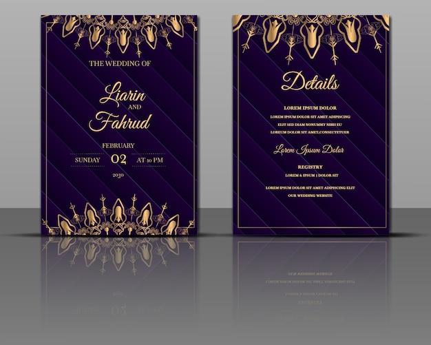 Cartão dourado de convite de casamento de luxo