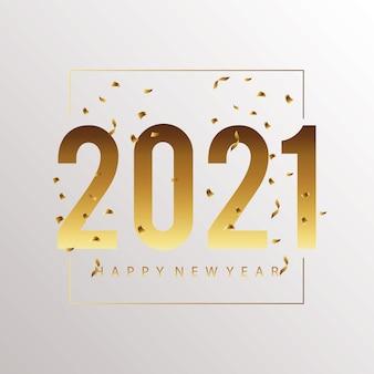 Cartão dourado de feliz ano novo 2021 com ilustração de confete