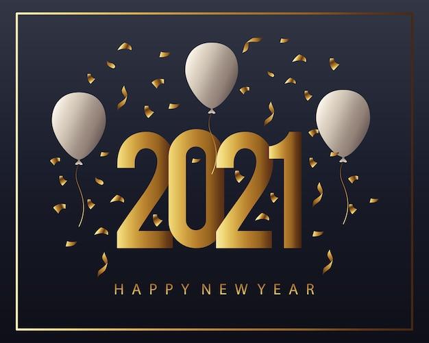 Cartão dourado de feliz ano novo de 2021 com ilustração de balões de hélio e confetes