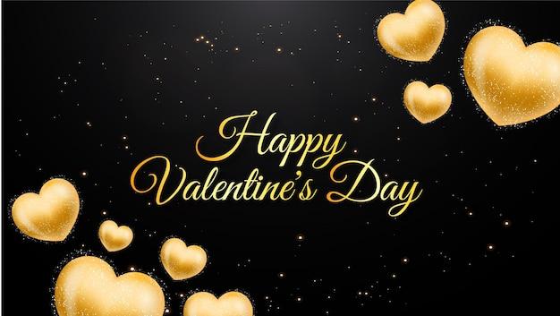 Cartão dourado do dia dos namorados com corações de ouro