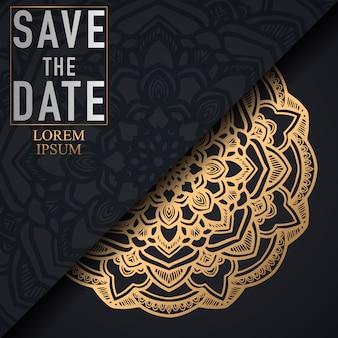 Cartão dourado do ornamento da mandala