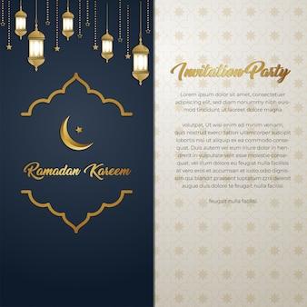 Cartão dourado luxuoso do convite de ramadan kareem