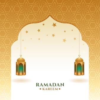 Cartão dourado ramadan kareem e eid mubarak
