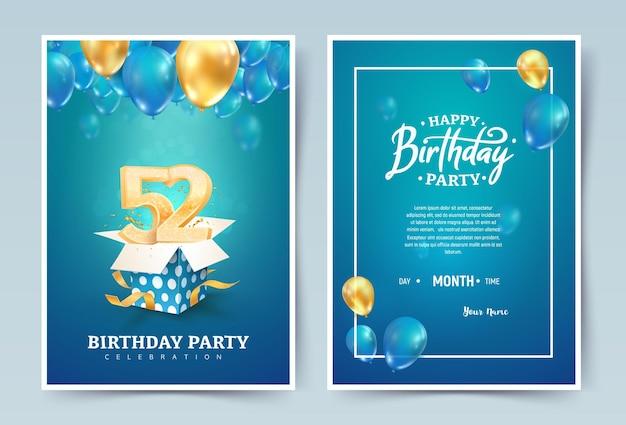 Cartão duplo de convite de feliz aniversário. celebração do aniversário de casamento de cinquenta e dois anos