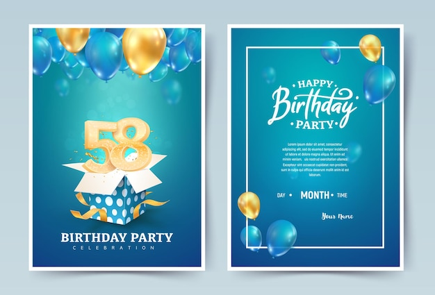 Cartão duplo de convite de feliz aniversário. celebração do aniversário de casamento de cinquenta e oito anos