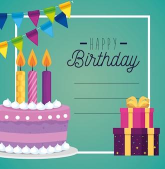Cartão e bolo com vela e apresenta gifs de decoração