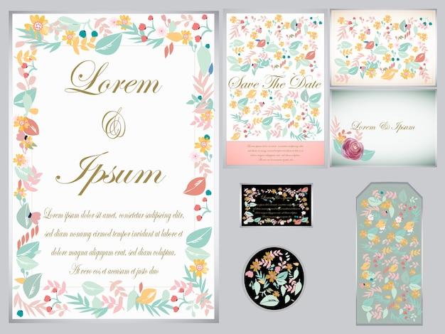 Cartão e etiqueta de casamento florida