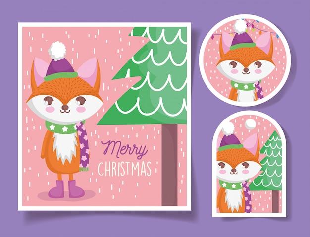 Cartão e etiquetas de feliz natal fox bonito