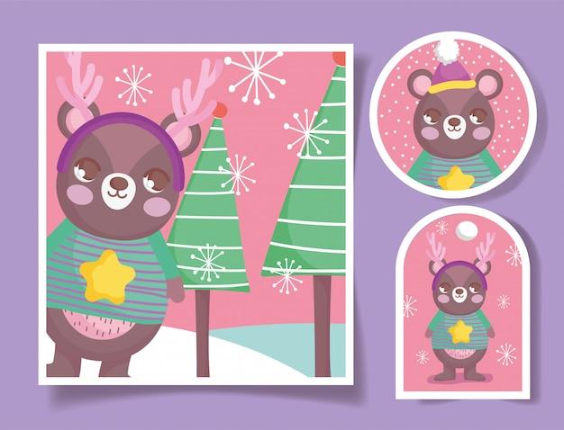 Cartão e etiquetas de feliz natal urso fofo