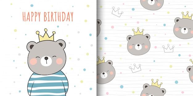 Cartão e impressão padrão bonito urso para crianças de tecidos têxteis.
