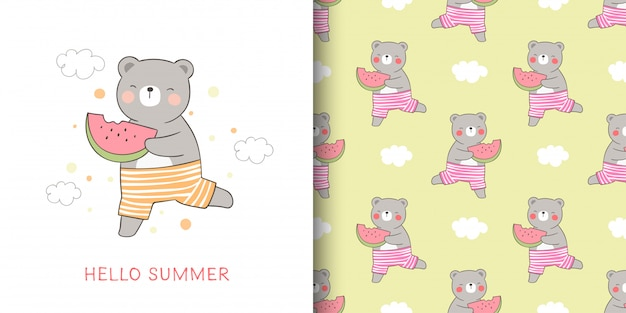 Cartão e impressão padrão urso segurando melancia para o verão.