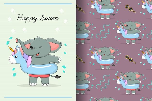 Cartão e padrão sem emenda de anel de borracha de unicórnio de elefante fofo