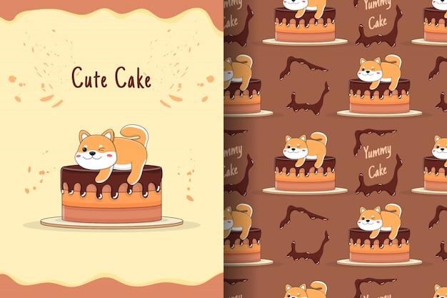 Cartão e padrão sem emenda de bolo shiba inu fofo