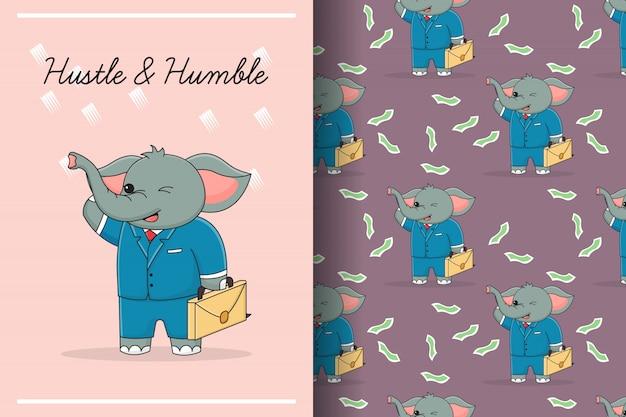 Cartão e padrão sem emenda de elefante bonito de negócios