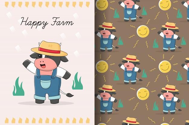Cartão e padrão sem emenda de fazendeiro de vaca fofo