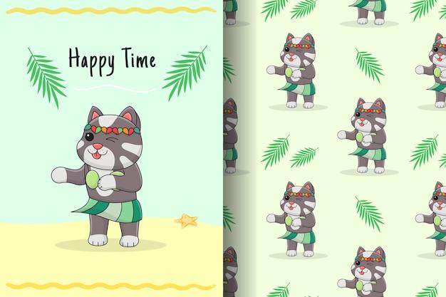Cartão e padrão sem emenda de gato fofo dançando