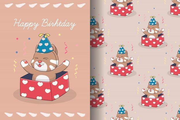 Cartão e padrão sem emenda de gato fofo de aniversário