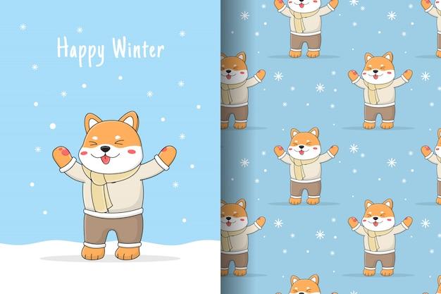 Cartão e padrão sem emenda de inverno bonito shiba inu